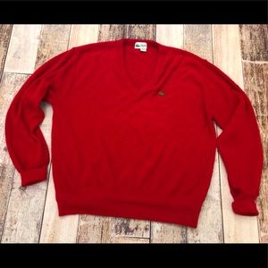 Lacoste club vintage red alligator sweater size L